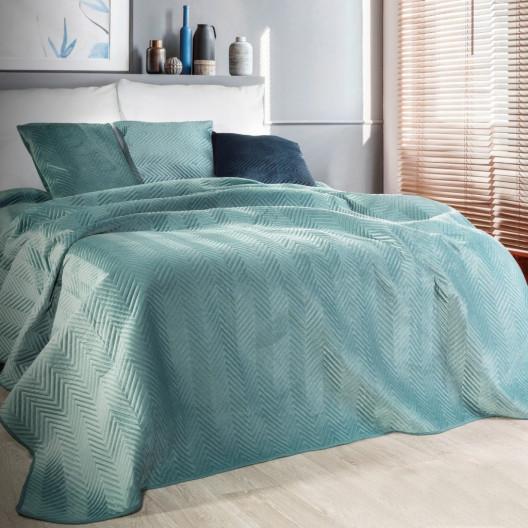 Prošívaný sametový přehoz na postel mátově zelené barvy