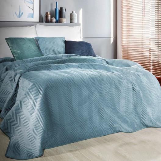 Luxusní dekorační přehoz na postel modré barvy