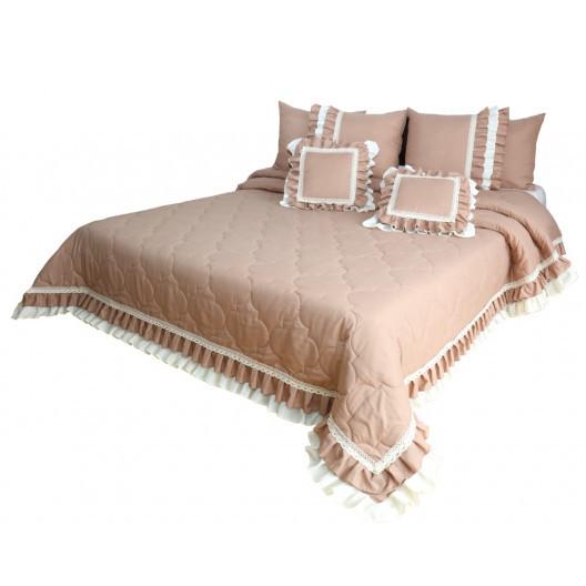 Vintage starorůžový přehoz na postel v romantickém stylu
