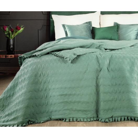 Oboustranný přehoz na postel s prošíváním zelené barvy