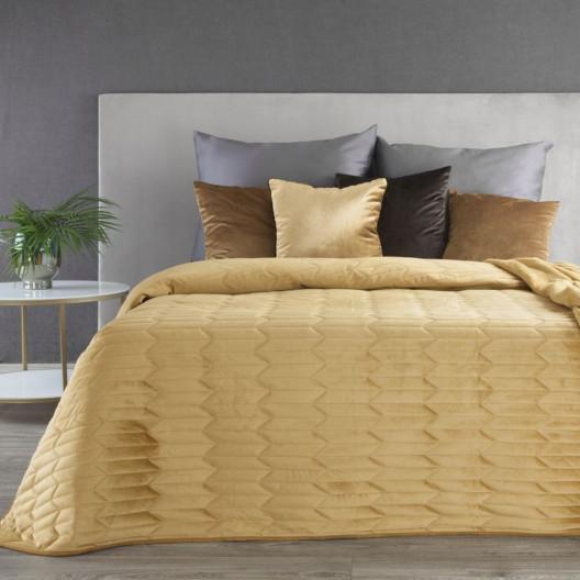 Žlutý sametový prošívaný objstranný přehoz na postel