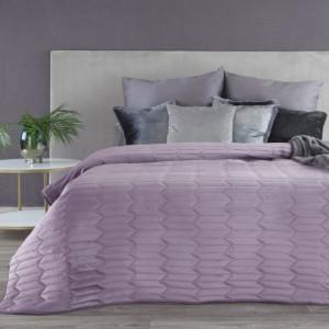 Fialový sametový prošívaný oboustranný přehoz na postel