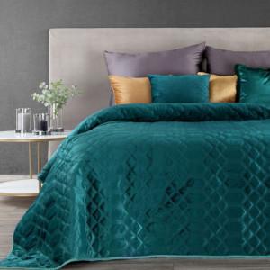 Kvalitní jednobarevný přehoz na postel tyrkysové barvy