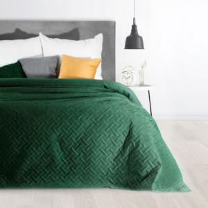 Dekorační přehoz na postel s prošíváním zelené barvy