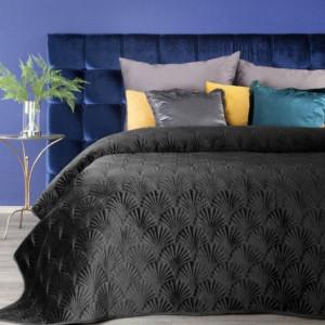 Luxusní černý sametový přehoz na manželskou postel