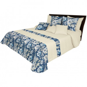 Oboustranný přehoz v modré barvě s květinovým potiskem