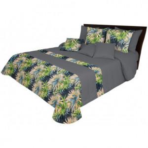 Oboustranný přehoz v šedé barvě s exotickými květinami