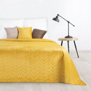 Kvalitní oboustranný přehoz na postel v zářivé žluté barvě
