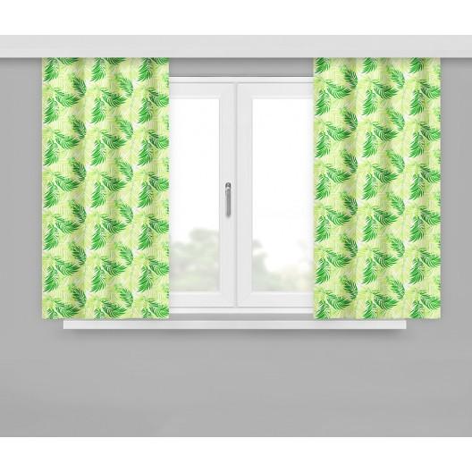 Krátký hotový závěs v zelené barvě s motivem zelených listů