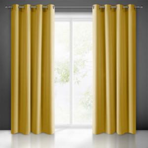 Žlutý jednobarevný závěs na okno