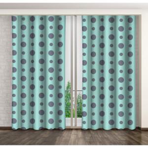 Zelené puntíkované závěsy do ložnice