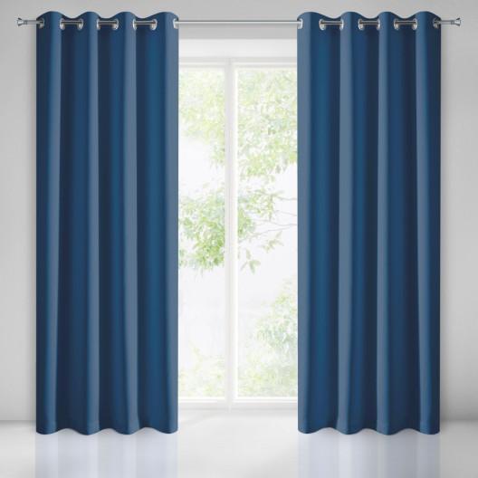 Ozdobný jednobarevný závěs modré barvy