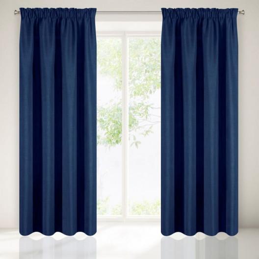 Tmavě modrý jednobarevný závěs do ložnice