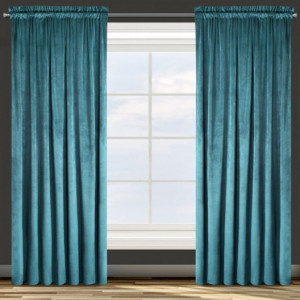 Tyrkysový sametový závěs na okno s řasící páskou