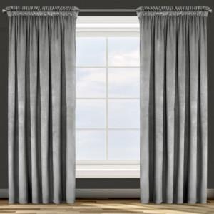 Luxusní sametový závěs šedé barvy do obývacího pokoje