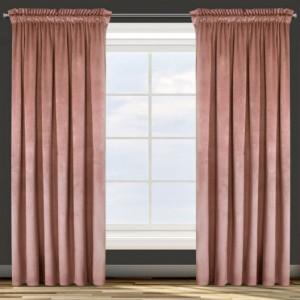 Růžový jednobarevný závěs s řasící páskou