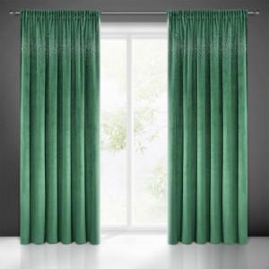 Zelené jednobarevné závěsy black out zdobené imitací zirkonů
