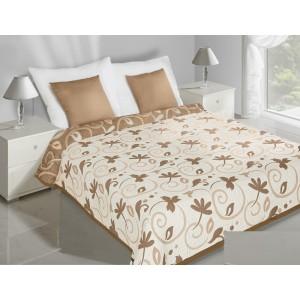 Krémově béžové oboustranné přehozy na postel s motivem listů