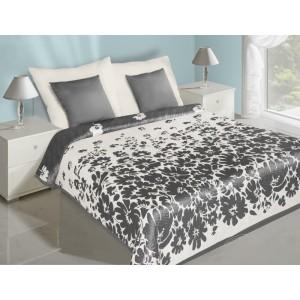 Bílé oboustranné přehozy na postel se vzorem šedých květů