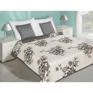 Bílé oboustranné přehozy na postel s motivem šedých  kytiček