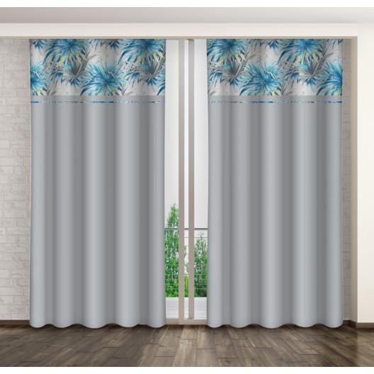 Hotové dekorační závěsy šedé barvy s květinovým motivem