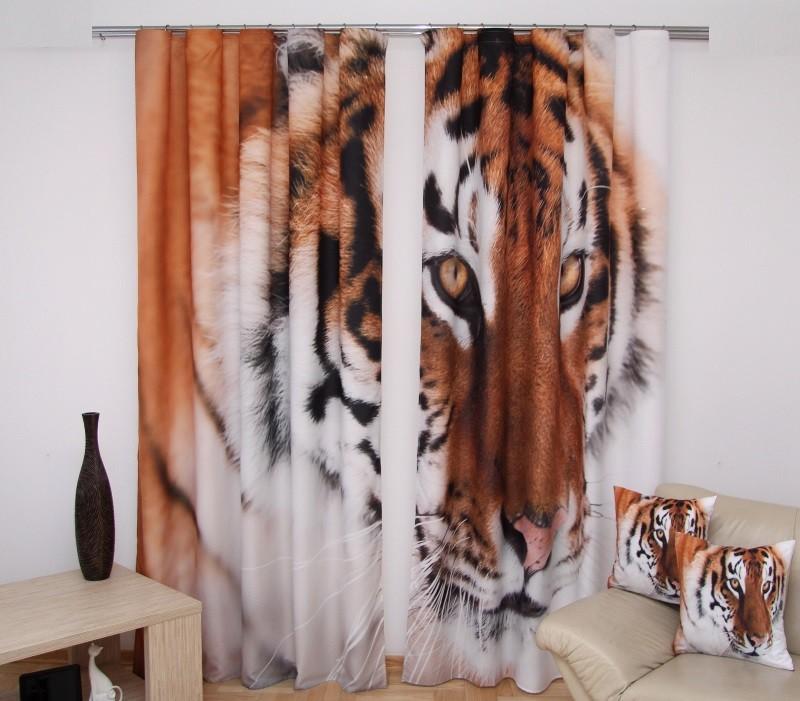 Tygr bílé závěsy na okno
