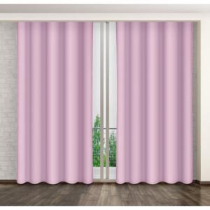 Růžový jednobarevný závěs na kruhy do ložnice