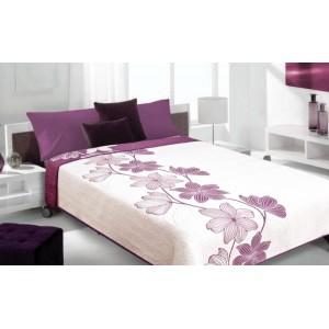 Moderní a luxusní oboustranný přehoz na postel bílý s fialovými květy