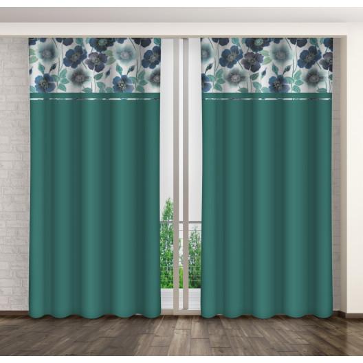 Kvalitní dekorační závěsy na kolíčky zelené barvy