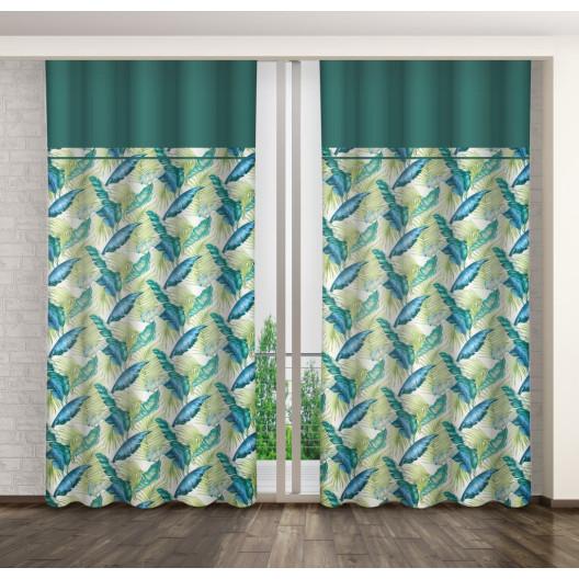 Hotový dekorační závěs s motivem palmových listů