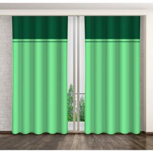 Zelené dekorační závěsy na okno s řasící páskou