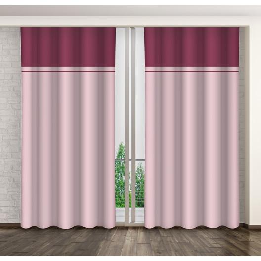 Hotové dekorační závěsy s řasící páskou růžové barvy