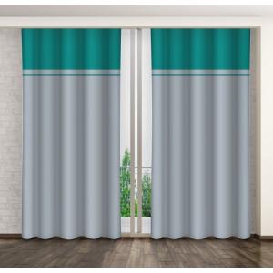 Dvoubarevné dekorační závěsy na kolíčky s řasící páskou