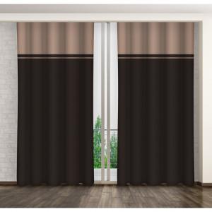 Tmavě hnědý ozdobný závěs do ložnice