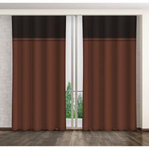 Luxusní tmavě hnědý dekorační závěs do obýváku