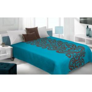 Moderní a luxusní oboustranný přehoz na postel modrý s hnědým vzorem