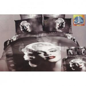 Šedé ložní flanelové prádlo s motivem ženy