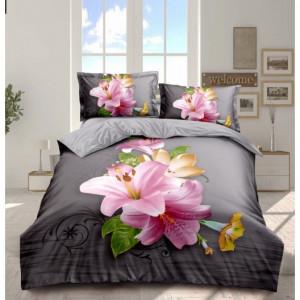 3D povlečení šedé barvy s květinami
