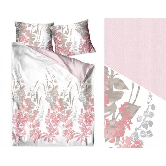 Krásné bavlněné povlečení v bílé barvě s růžovými vzorem
