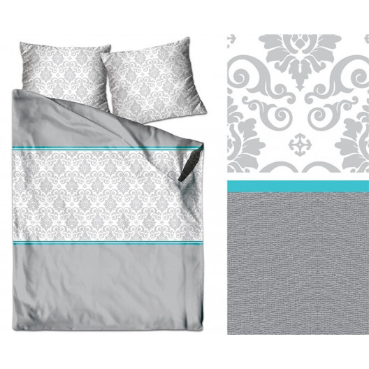 Krásné bavlněné povlečení v šedé barvě s tyrkysovým vzorem
