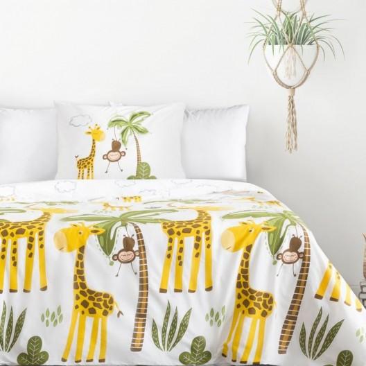 Dětské bavlněné ložní povlečení s motivem žirafy