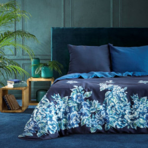 Modré bavlněné ložní povlečení s květinovým motivem