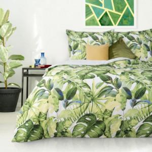 Bavlněné ložní povlečení s exotickým motivem zelené barvy