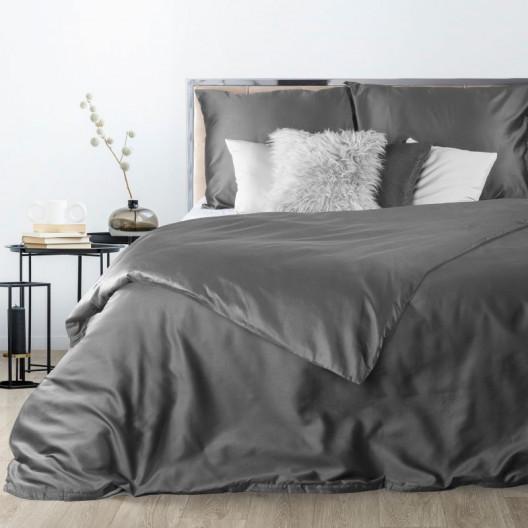 Luxusní povlečení z bavlněného saténu tmavě šedé barvy