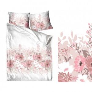 Bavlněné ložní povlečení s pudrově růžovými květy
