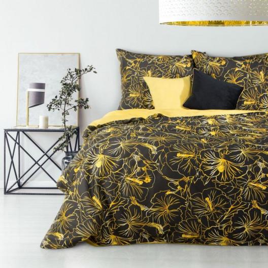 Bavlněné povlečení se žlutým květinovým motivem