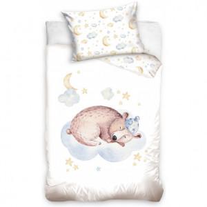 Dětské bavlněné ložní povlečení spící medvídek
