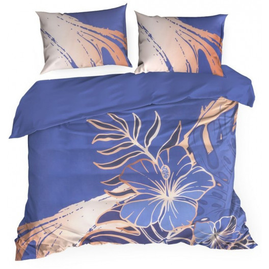 Modré povlečení s motivem květin