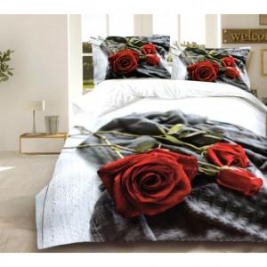 3D ložní povlečení s motivem červených růží