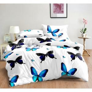 Bílé povlečení s tyrkysovými motýly